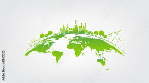 Photo Ecology concept with green city on earth, World environment and sustainable deve