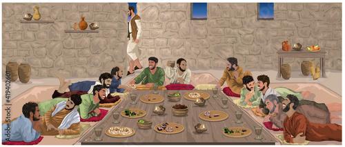 Slika na platnu The Last Supper - Jesus Celebrates Passover With His disciples