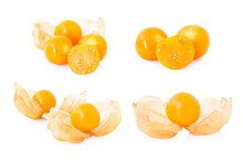 Set Fresh Cape Gooseberry Fruit With High Vitamin C On White Background, Health Care Medical Concept