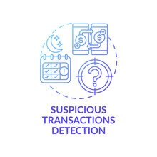 Suspicious Transactions Detection Concept Icon. Stealing Money Idea Thin Line Illustration. Terrorist Financing. Money Laundering Criminals. Vector Isolated Outline RGB Color Drawing