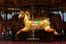 Beautiful Empty Colorful Horse On A Merry Go Round Attraction