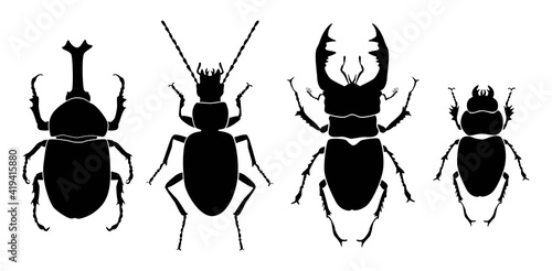 Vector collection of 4 insects silhouettes Fototapet