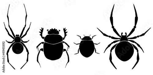 Vector collection of 4 insects silhouettes Fotobehang