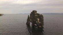 Aerial Drone View Of Hvitserkur Sea Stack Arch And Basalt Stack Rock Formation I