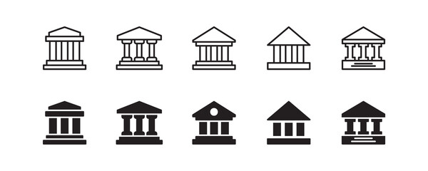 Bank icon set. Vector graphic illustration. Suitable for website design, logo, app, template, and ui.