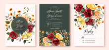 Wedding Invitation Set With Beautiful Flower Garden Watercolor