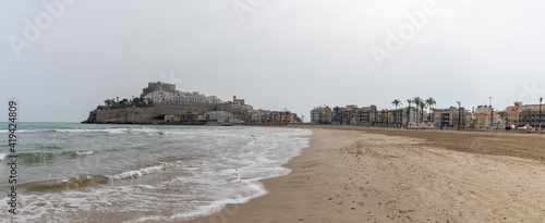 panorama view ofthe beach and town of Peniscola in Spain