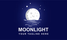 Moonlight Logo Design Template-Moonlight Logo Vector Night Background. Moon Phase. Waning Moon With Stars, Water, Sea.