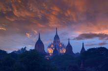 Silhouette Of Stupas At Sunrise, Bagan, Myanmar