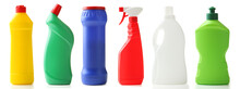 Collage Of Bottles With Detergent On White Background