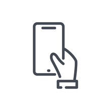 Hand Hold Mobile Phone Line Icon. Hand Holding Smartphone Vector Outline Sign.