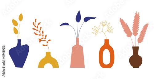 Fotografija Ceramic Vases and Exotic Tropical leaves, flowers, boho style