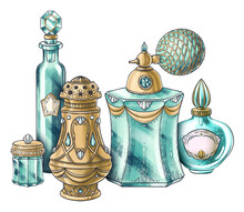 Hand Drawn Composition Of Illustrations Of Vintage Jewelry Jar, Crystal Perfume Bottles, Spray, Aroma Diffuser For Package, Book, Postcard, Identity, Poster, Decoration In Marie Antoinette Style
