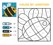 Color By Addition, Education Game For Kids, Bee