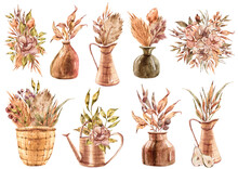 Watercolor Set Flowers In Vases With Tropical Jungle Leaves Flowers And Fruit On White Background. Watercolor Painting Flower Bouquets Red, Pink Colors In Vases.