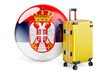 Suitcase with Serbian flag. Serbia travel concept, 3D rendering