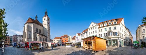 Tableau sur Toile Neupfarrplatz mit Kirche, Regensburg, Bayern, Deutschland