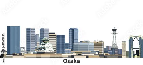 Naklejka premium Osaka vector city skyline
