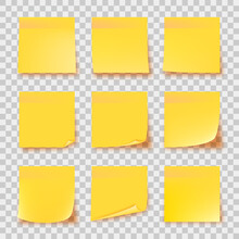 Realistic Set Yellow Stick Note Isolated On Transparent Background. Post It Notes Collection With Shadow. Yellow Color. Post It Notes Collection With Shadow