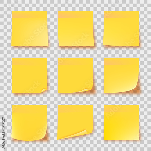 Obraz Realistic set yellow stick note isolated on transparent background. Post it notes collection with shadow. Yellow color. Post it notes collection with shadow - fototapety do salonu