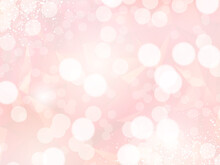 Stylish Pink And Gold Glitter Card. Bokeh Clouds Card