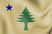 3D Flag Of Maine (1901). 3D Illustration.