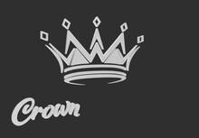 Silver Crown On A Black Background, 3D Illustration