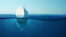 Iceberg With A Plastic Garbage Bag Underwater, The Concept Of Pollution Of The Oceans And Nature. Garbage In The Water And Melting Glaciers. Environmental Pollution