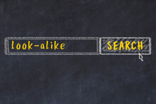Search Engine Concept. Looking For Look-alike. Simple Chalk Sketch And Inscription