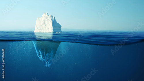 Foto Iceberg with a plastic garbage bag underwater, the concept of pollution of the oceans and nature