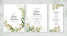 Beautiful Wedding Invitation Template With Hand Painted Watercolor Foliage