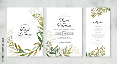 Obraz Beautiful wedding invitation template with hand painted watercolor foliage - fototapety do salonu