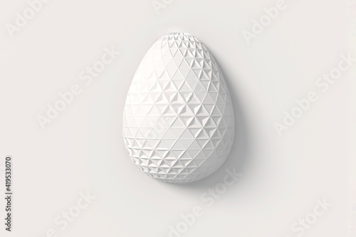 Fototapeta Easter concept. One white egg with geometric original changing patterns on the surface on a white background. 3d illustration obraz