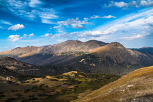 Snow Free Mountain Peaks In Summer In The Rocky Mountain National Park In Colorado.