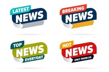 Broadcast News Info Label Set Template For Television Media. Latest, Hot Breaking News, Everyday Top Only From Us Lettering Badge For TV Channel, Video Blog, Entertaining Show Vector Illustration