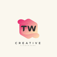 TW Initial Letter Logo Icon Design Template Elements With Wave Colorful Art.