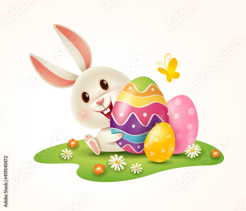 Obraz Easter bunny and Easter painted eggs on grass. Isolated. - fototapety do salonu