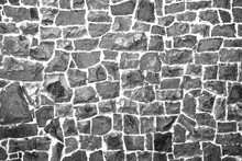 Stone Wall Of Cobblestones Background. View From The Front. UNUSUAL SURFACE.