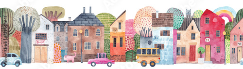 Cute seamless pattern old town. Watercolor illustration. Children's horizontal poster. Horizontal repeating banner.