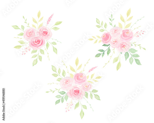 Fototapeta Watercolor hand-painted pink loose roses and greenery bouquet isolated on white background. Spring, summer floral arrangement for wedding invitations, cards, frames,   designs.  obraz