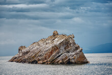 Lake Baikal In Cloudy Weather. Cold Summer