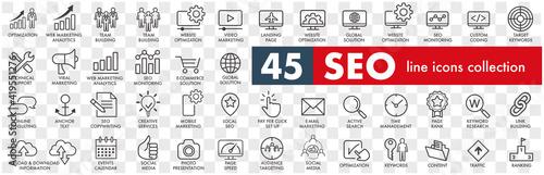 Outline web icons set - Search Engine Optimization Fotobehang