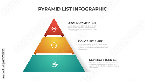 Fotografie, Obraz Pyramid list infographic template vector with 3 layers