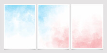 Blue And Pink Watercolor Wet Wash Splash 5x7 Invitation Card Background Template Collection