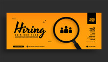 Minimal Job Vacancy Social Media Cover Banner Template, We Are Hring Background With Magnifying Glass