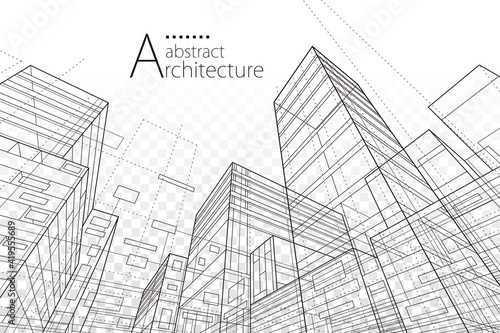 Stampa su Tela Architecture building construction perspective line drawing design abstract background