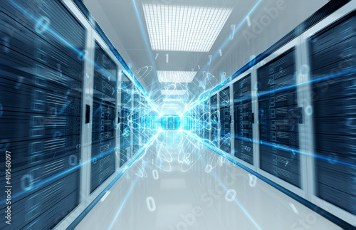 Canvastavla Connection network in servers data center room storage systems 3D rendering