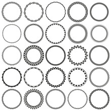 Collection Of African Decorative Ornamental Round Border Frames. Ideal For Vintage Label Designs.