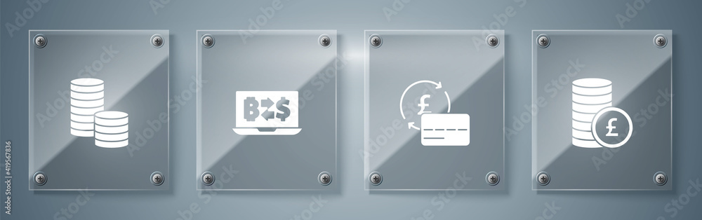 Fototapeta Set Coin money with pound, Credit card, Cryptocurrency exchange and dollar. Square glass panels. Vector.