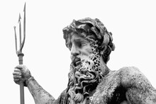 The Mighty God Of Sea And Oceans Neptune (Poseidon, Triton). Neptun's Trident As Symbol Strength, Power And Unrestraint. Fragment Of An Ancient Statue. Close Up.